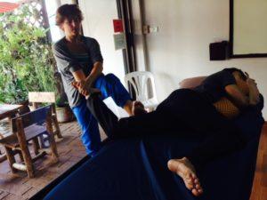 Amy practicing Thai Massage