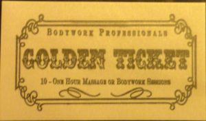 The Pocket Golden Ticket is worth 10 massage or bodywork sessions. The sessions are added to your account so they are easy to use. Make your appointment online or with us and the session is automatically deducted from your account.