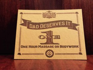 Fathers Day Gift Certificate for Massage