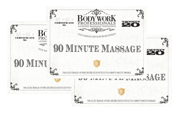 3- 90 Minute Massage Gift Certificates $360